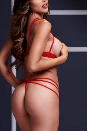 Dessous Strappy Open Bra & Panty Set O/S Red