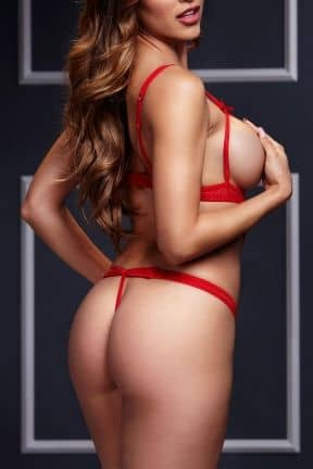 Dessous Strappy Bodysuit & Open Cup Bra O/S Red