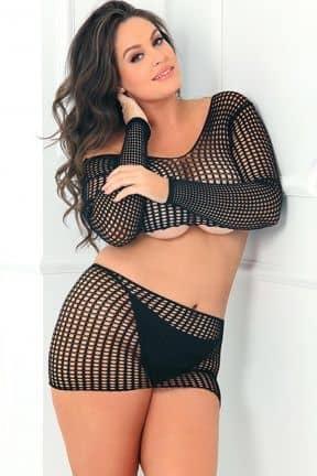 Dessous 2PC Crochet Bodystocking OS