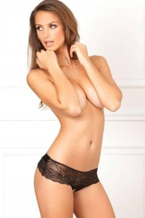 Dessous Crotchless Lace Bow-Back Panty Black